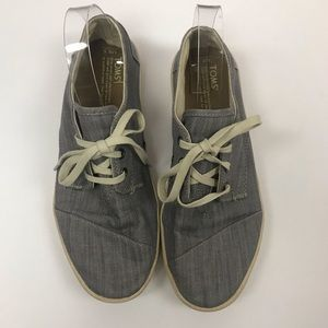 Toms Chambray Lace Up Shoes 8.5 EUC